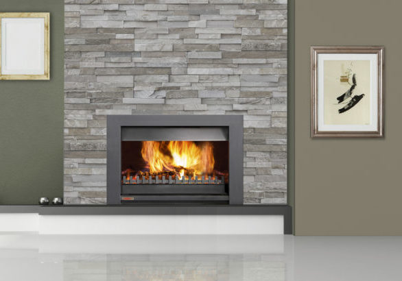 fireplace room with bookshelf and old empty frame - rendering